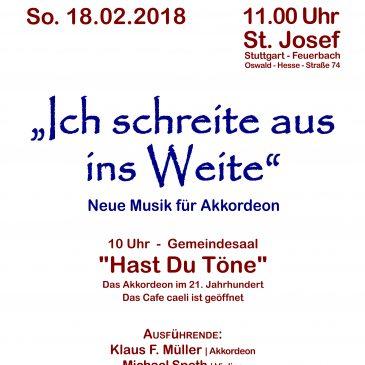 """Neue Kirchenmusik in St. Josef – """"Ich schreite aus ins Weite"""""""