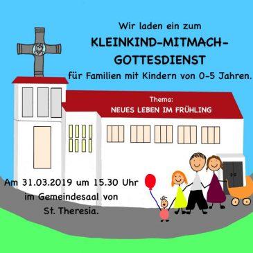 Kleinkind-Mitmach-Gottesdienst in St. Theresia am 31.03.2019