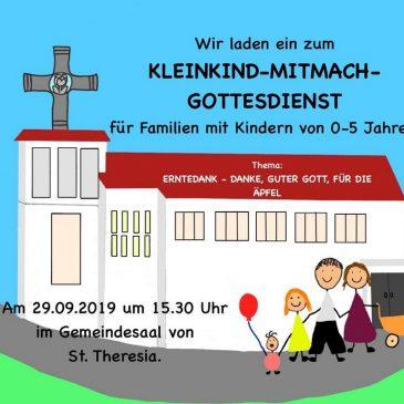 Kleinkind-Mitmach-Gottesdienst in St. Theresia am 29.09.2019