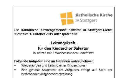 Stellenausschreibung Leitungskraft für den Kinderchor Salvator